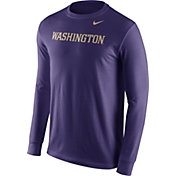 Nike Men's Washington Huskies Purple Wordmark Long Sleeve Shirt
