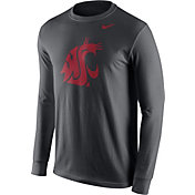 Nike Men's Washington State Cougars Anthracite Logo Long Sleeve Shirt
