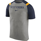 Nike Men's West Virginia Mountaineers Grey/Blue Shoulder Stripe T-Shirt
