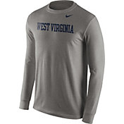 Nike Men's West Virginia Mountaineers Grey Wordmark Long Sleeve Shirt