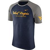Nike Men's West Virginia Mountaineers Blue/Grey Script Tri-Blend Raglan T-Shirt