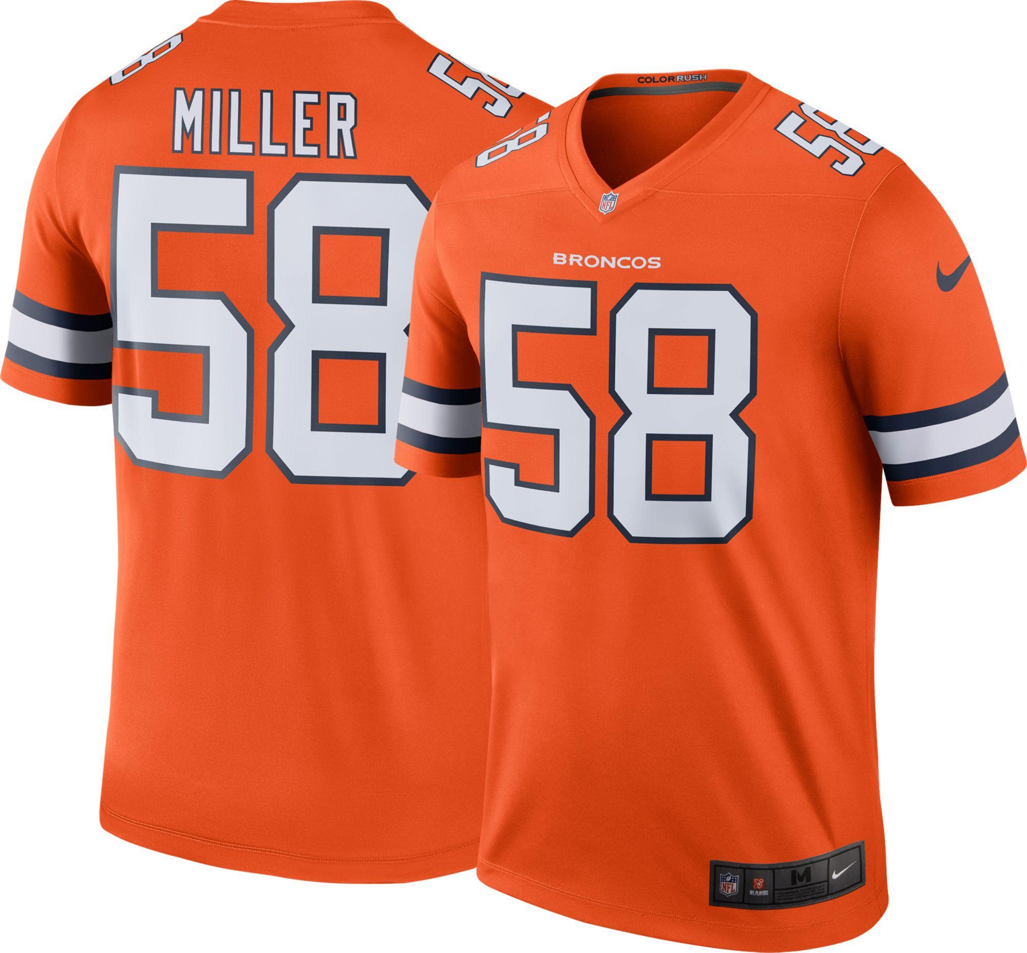 2016 Men's Denver Broncos 58 Miller Nike Elite orange Jersey