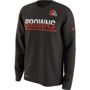 Nike Men's Cleveland Browns Team Practice Performance Brown Long Sleeve Shirt