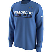 Nike Men's San Diego Chargers Team Practice Performance Blue Long Sleeve Shirt