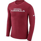 Nike Men's Arizona Cardinals Marled Wordmark Red Long Sleeve Shirt