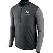 Nike Men's Miami Dolphins Sideline 2017 Coaches Anthracite Half-Zip Top