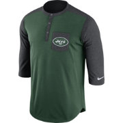 Nike Men's New York Jets Dri-FIT Touch Henley Green Three-Quarter Sleeve Shirt