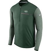 Nike Men's New York Jets Sideline 2017 Coaches Green Half-Zip Top