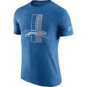 Nike Men's Detroit Lions Tri-Blend Historic Logo Blue T-Shirt