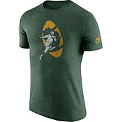 Nike Men's Green Bay Packers Tri-Blend Historic Logo Green T-Shirt