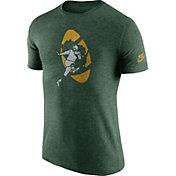 Nike Men's Green Bay Packers Tri-Blend Historic Logo Green T-Shirt