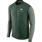 Nike Men's Green Bay Packers Sideline 2017 Coaches Green Half-Zip Top