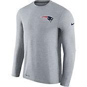 Nike Men's New England Patriots Sideline 2017 Coaches Grey Long Sleeve Shirt