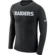 Nike Men's Oakland Raiders Marled Wordmark Black Long Sleeve Shirt