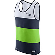Nike Men's Seattle Seahawks Wide Stripe Performance Navy Tank Top