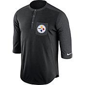 Nike Men's Pittsburgh Steelers Dri-FIT Touch Henley Black Three-Quarter Sleeve Shirt