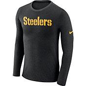 Nike Men's Pittsburgh Steelers Marled Wordmark Black Long Sleeve Shirt