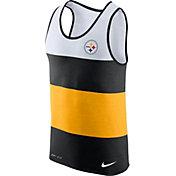 Nike Men's Pittsburgh Steelers Wide Stripe Performance Black Tank Top