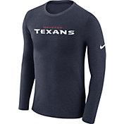 Nike Men's Houston Texans Marled Wordmark Navy Long Sleeve Shirt