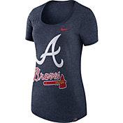 Nike Women's Atlanta Braves Marled Navy Boyfriend Scoop Neck T-Shirt