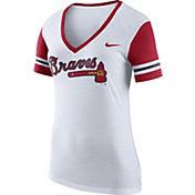 Nike Women's Atlanta Braves Fan White V-Neck Shirt