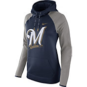 Nike Women's Milwaukee Brewers Grey Therma Pullover Hoodie