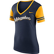 Nike Women's Milwaukee Brewers Fan Navy V-Neck Shirt