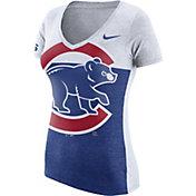 Nike Women's Chicago Cubs Logo Blocked White/Royal V-Neck Shirt