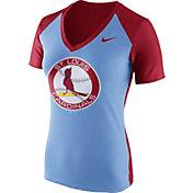 Nike Women's St. Louis Cardinals Fan Cooperstown Light Blue/Red V-Neck Shirt
