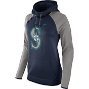 Nike Women's Seattle Mariners Grey Therma Pullover Hoodie