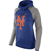 Nike Women's New York Mets Grey Therma Pullover Hoodie