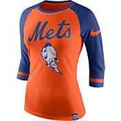 Nike Women's New York Mets Orange/Royal Raglan Three-Quarter Sleeve Shirt
