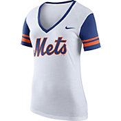 Nike Women's New York Mets Fan White V-Neck Shirt