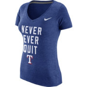 "Nike Women's Texas Rangers ""Never Ever Quit"" Royal V-Neck T-Shirt"