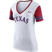 Nike Women's Texas Rangers Fan White V-Neck Shirt