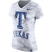 Nike Women's Texas Rangers Dri-Blend White Tonal Pattern V-Neck T-Shirt