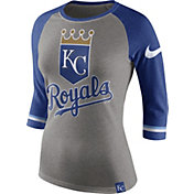 Nike Women's Kansas City Royals Grey/Royal Raglan Three-Quarter Sleeve Shirt