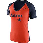 Nike Women's Houston Astros Fan Cooperstown Orange/Navy V-Neck Shirt