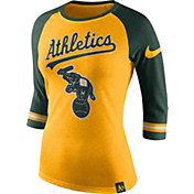 Nike Women's Oakland Athletics Gold/Green Raglan Three-Quarter Sleeve Shirt