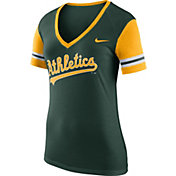 Nike Women's Oakland Athletics Fan Green V-Neck Shirt