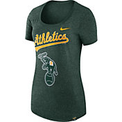 Nike Women's Oakland Athletics Marled Green Boyfriend Scoop Neck T-Shirt