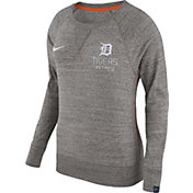 Nike Women's Detroit Tigers Gym Vintage Grey Pullover Crew