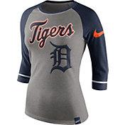 Nike Women's Detroit Tigers Grey/Navy Raglan Three-Quarter Sleeve Shirt