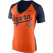 Nike Women's Detroit Tigers Fan Cooperstown Orange/Navy V-Neck Shirt