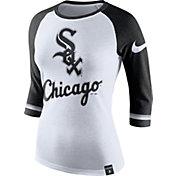 Nike Women's Chicago White Sox White/Black Raglan Three-Quarter Sleeve Shirt