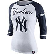 Nike Women's New York Yankees White/Navy Raglan Three-Quarter Sleeve Shirt