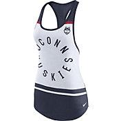 Nike Women's UConn Huskies White/Blue Circle Dri-Blend Tank Top