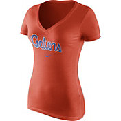 Nike Women's Florida Gators Orange Wordmark V-Neck T-Shirt