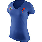 Nike Women's Florida Gators Heathered Blue Tri Team Badge Mid V-Neck T-Shirt