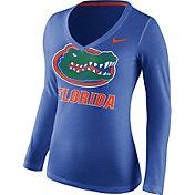 Nike Women's Florida Gators Blue Mid-V Logo Long Sleeve Shirt